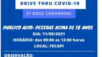 Drive Thru para Segunda Dose da vacina CORONAVAC