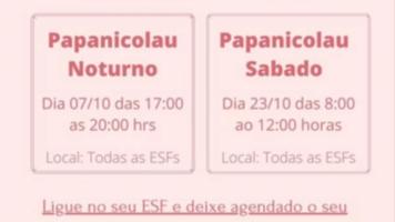 Exames de Papanicolau quinta,7, à noite